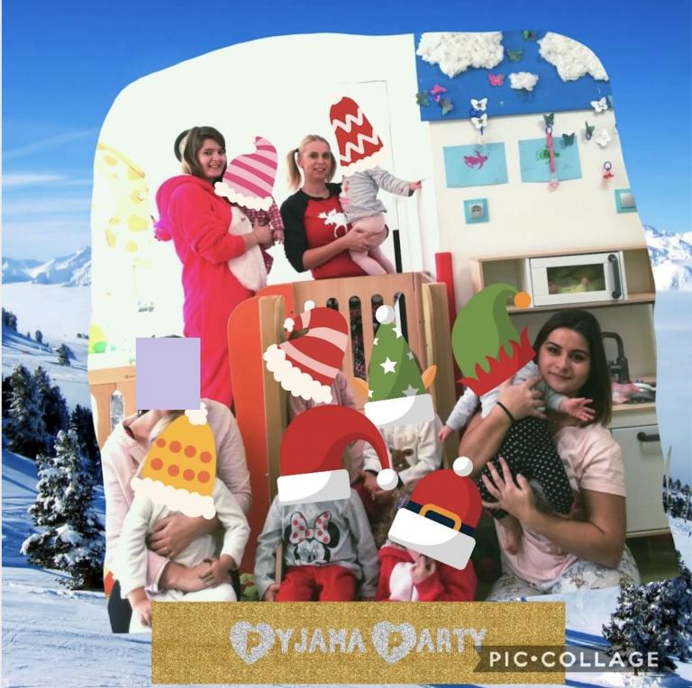 Enfants et équipe lors de pyjama party