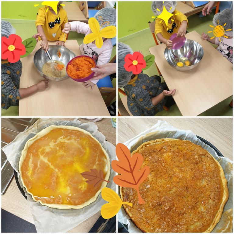 Préparation d'une tarte à la citrouille